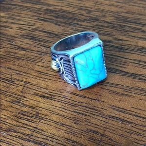 Costume Jewelry Silver Ring with blue stone